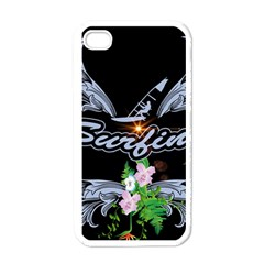 Surfboarder With Damask In Blue On Black Bakcground Apple iPhone 4 Case (White)