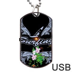 Surfboarder With Damask In Blue On Black Bakcground Dog Tag USB Flash (Two Sides)