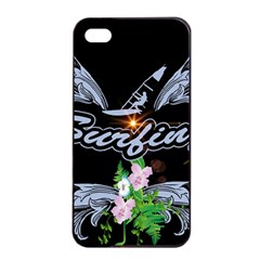 Surfboarder With Damask In Blue On Black Bakcground Apple Iphone 4/4s Seamless Case (black)