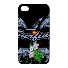 Surfboarder With Damask In Blue On Black Bakcground Apple iPhone 4/4S Premium Hardshell Case