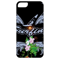 Surfboarder With Damask In Blue On Black Bakcground Apple iPhone 5 Classic Hardshell Case