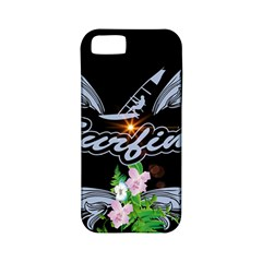 Surfboarder With Damask In Blue On Black Bakcground Apple iPhone 5 Classic Hardshell Case (PC+Silicone)