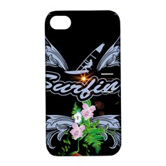 Surfboarder With Damask In Blue On Black Bakcground Apple iPhone 4/4S Hardshell Case with Stand