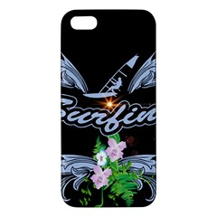 Surfboarder With Damask In Blue On Black Bakcground Apple iPhone 5 Premium Hardshell Case