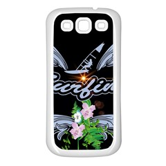 Surfboarder With Damask In Blue On Black Bakcground Samsung Galaxy S3 Back Case (White)