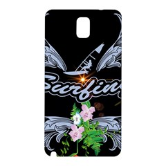 Surfboarder With Damask In Blue On Black Bakcground Samsung Galaxy Note 3 N9005 Hardshell Back Case