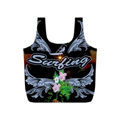 Surfboarder With Damask In Blue On Black Bakcground Full Print Recycle Bags (S)