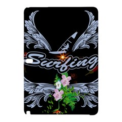 Surfboarder With Damask In Blue On Black Bakcground Samsung Galaxy Tab Pro 10.1 Hardshell Case