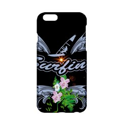 Surfboarder With Damask In Blue On Black Bakcground Apple iPhone 6/6S Hardshell Case