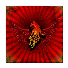 Lion With Flame And Wings In Yellow And Red Tile Coasters