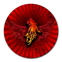 Lion With Flame And Wings In Yellow And Red Round Mousepads