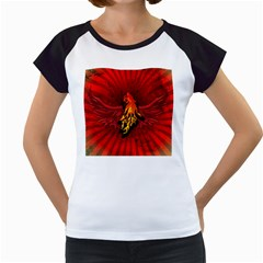 Lion With Flame And Wings In Yellow And Red Women s Cap Sleeve T