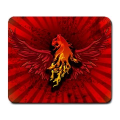 Lion With Flame And Wings In Yellow And Red Large Mousepads