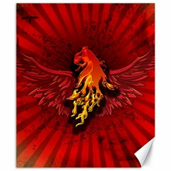 Lion With Flame And Wings In Yellow And Red Canvas 8  x 10