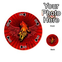 Lion With Flame And Wings In Yellow And Red Playing Cards 54 (Round)