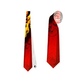Lion With Flame And Wings In Yellow And Red Neckties (two Side)