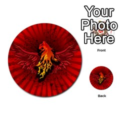 Lion With Flame And Wings In Yellow And Red Multi-purpose Cards (Round)
