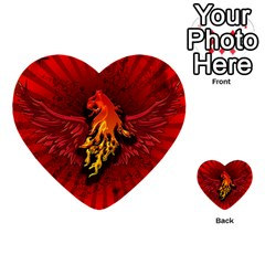 Lion With Flame And Wings In Yellow And Red Multi-purpose Cards (Heart)