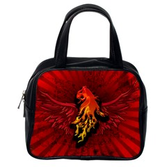 Lion With Flame And Wings In Yellow And Red Classic Handbags (One Side)