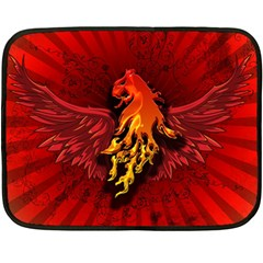 Lion With Flame And Wings In Yellow And Red Fleece Blanket (Mini)