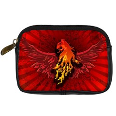 Lion With Flame And Wings In Yellow And Red Digital Camera Cases