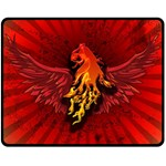 Lion With Flame And Wings In Yellow And Red Fleece Blanket (Medium)  60 x50 Blanket Front