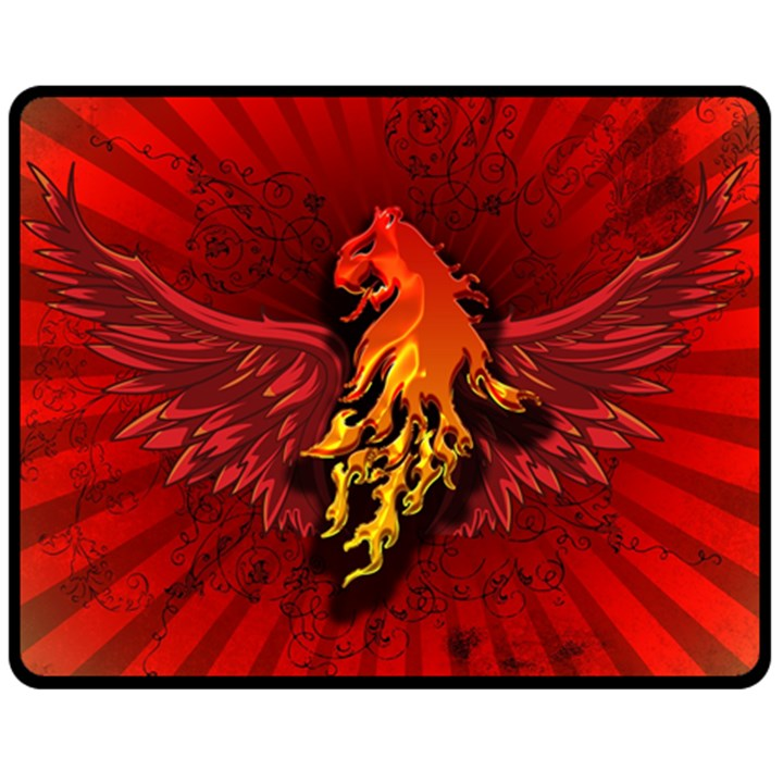 Lion With Flame And Wings In Yellow And Red Fleece Blanket (Medium)
