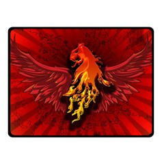 Lion With Flame And Wings In Yellow And Red Fleece Blanket (small)