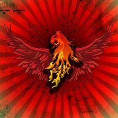Lion With Flame And Wings In Yellow And Red Magic Photo Cubes