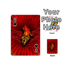 Lion With Flame And Wings In Yellow And Red Playing Cards 54 (Mini)