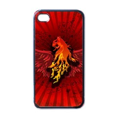 Lion With Flame And Wings In Yellow And Red Apple iPhone 4 Case (Black)