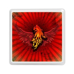 Lion With Flame And Wings In Yellow And Red Memory Card Reader (Square)