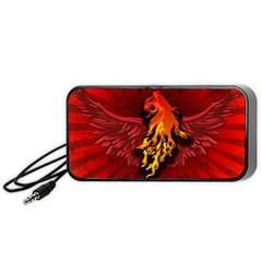 Lion With Flame And Wings In Yellow And Red Portable Speaker (black)