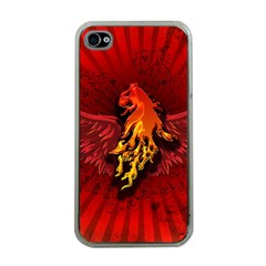 Lion With Flame And Wings In Yellow And Red Apple iPhone 4 Case (Clear)