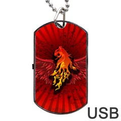 Lion With Flame And Wings In Yellow And Red Dog Tag USB Flash (Two Sides)