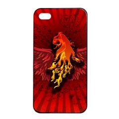 Lion With Flame And Wings In Yellow And Red Apple Iphone 4/4s Seamless Case (black)