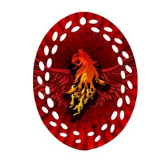 Lion With Flame And Wings In Yellow And Red Oval Filigree Ornament (2 Side)
