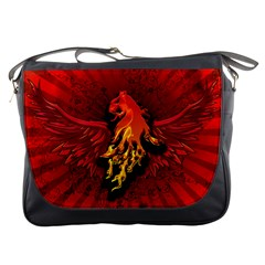 Lion With Flame And Wings In Yellow And Red Messenger Bags