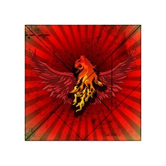 Lion With Flame And Wings In Yellow And Red Acrylic Tangram Puzzle (4  x 4 )