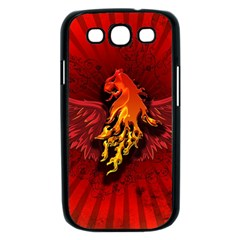 Lion With Flame And Wings In Yellow And Red Samsung Galaxy S III Case (Black)