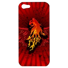 Lion With Flame And Wings In Yellow And Red Apple iPhone 5 Hardshell Case