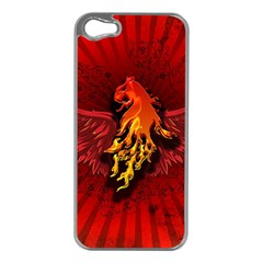 Lion With Flame And Wings In Yellow And Red Apple iPhone 5 Case (Silver)