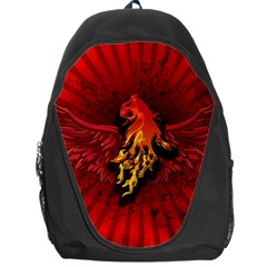 Lion With Flame And Wings In Yellow And Red Backpack Bag