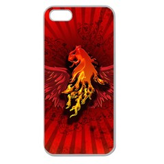 Lion With Flame And Wings In Yellow And Red Apple Seamless iPhone 5 Case (Clear)