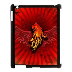 Lion With Flame And Wings In Yellow And Red Apple iPad 3/4 Case (Black)