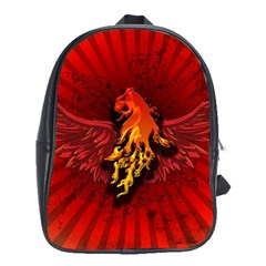 Lion With Flame And Wings In Yellow And Red School Bags (xl)