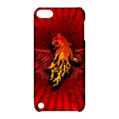 Lion With Flame And Wings In Yellow And Red Apple iPod Touch 5 Hardshell Case with Stand