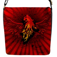 Lion With Flame And Wings In Yellow And Red Flap Messenger Bag (S)