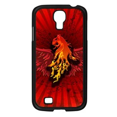 Lion With Flame And Wings In Yellow And Red Samsung Galaxy S4 I9500/ I9505 Case (Black)