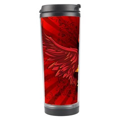 Lion With Flame And Wings In Yellow And Red Travel Tumblers